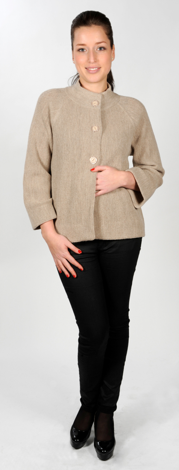 Women's Alpaca Cardigan with Raglan Sleeves, links-knit