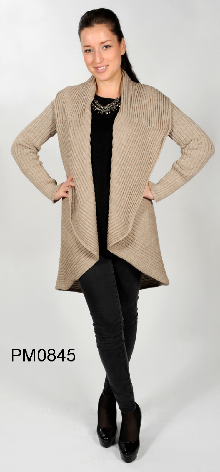 "Rib-Knit Alpaca Coat with Scarf-Collar ""Manhattan"""