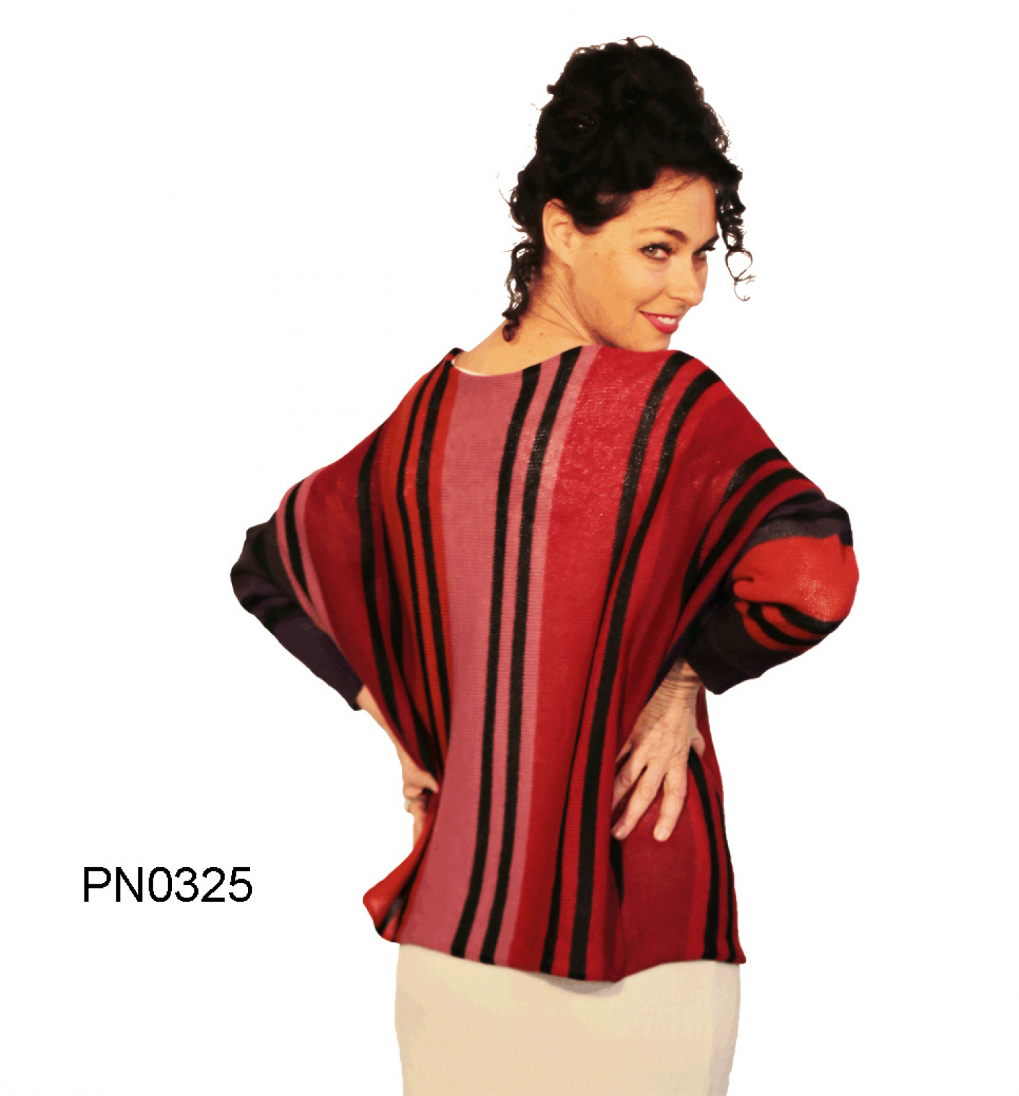 Womens Alpaca Sweater in Butterfly-Form, red colors, long sleeves