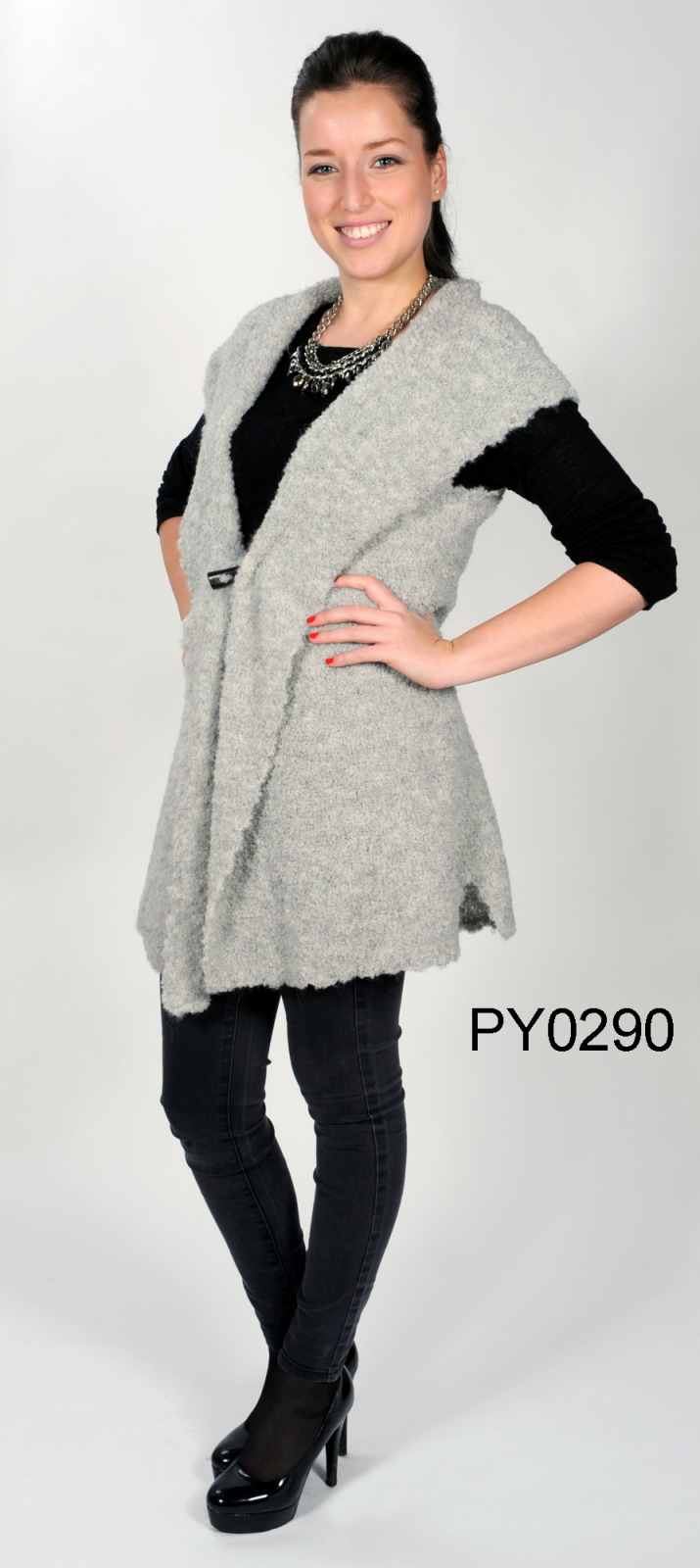 "Women's Alpaca Bouclé-Vest with Scarf-Collar ""Celeste"""
