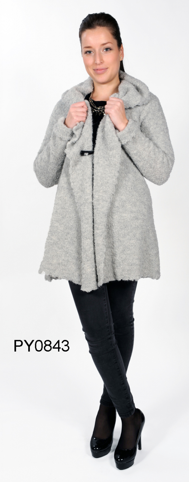 "Women's Alpaca Bouclé-Jacket with Scarf-Collar ""Celeste"""