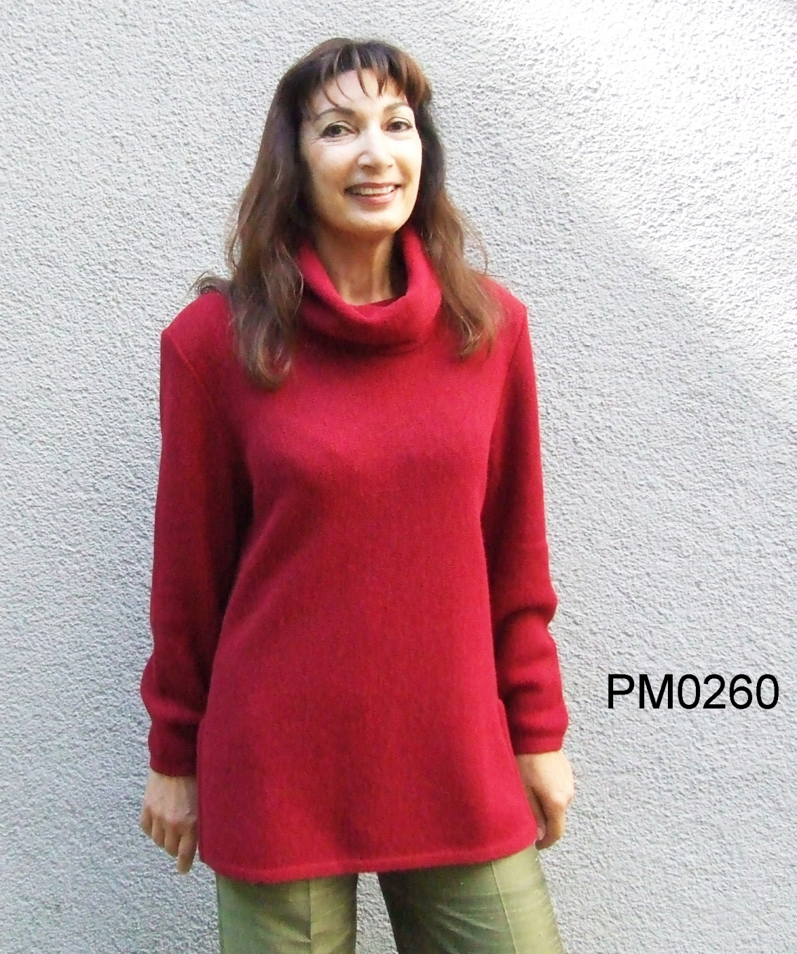 Women's Alpaka Turtle-Neck Sweater with side slits, links-knit