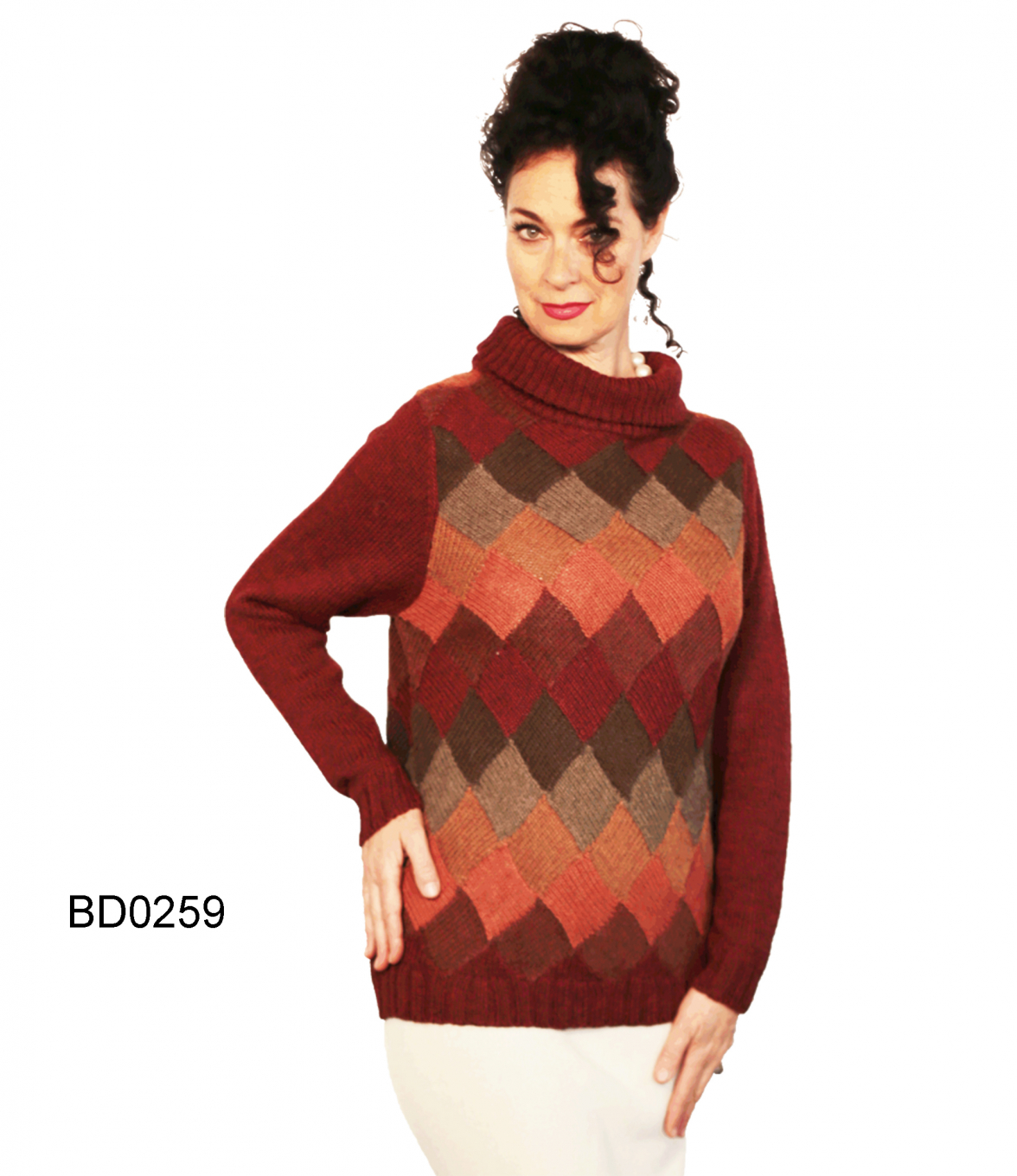 Alpaca Turtle-Neck Sweater with Checkerboard Pattern Chess