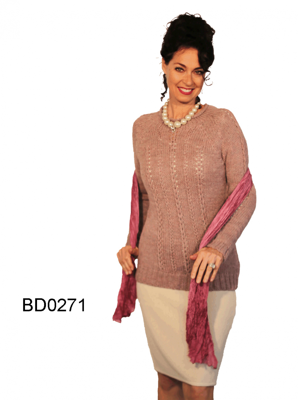 Women's Alpaca Sweater with rollen Neru Collar