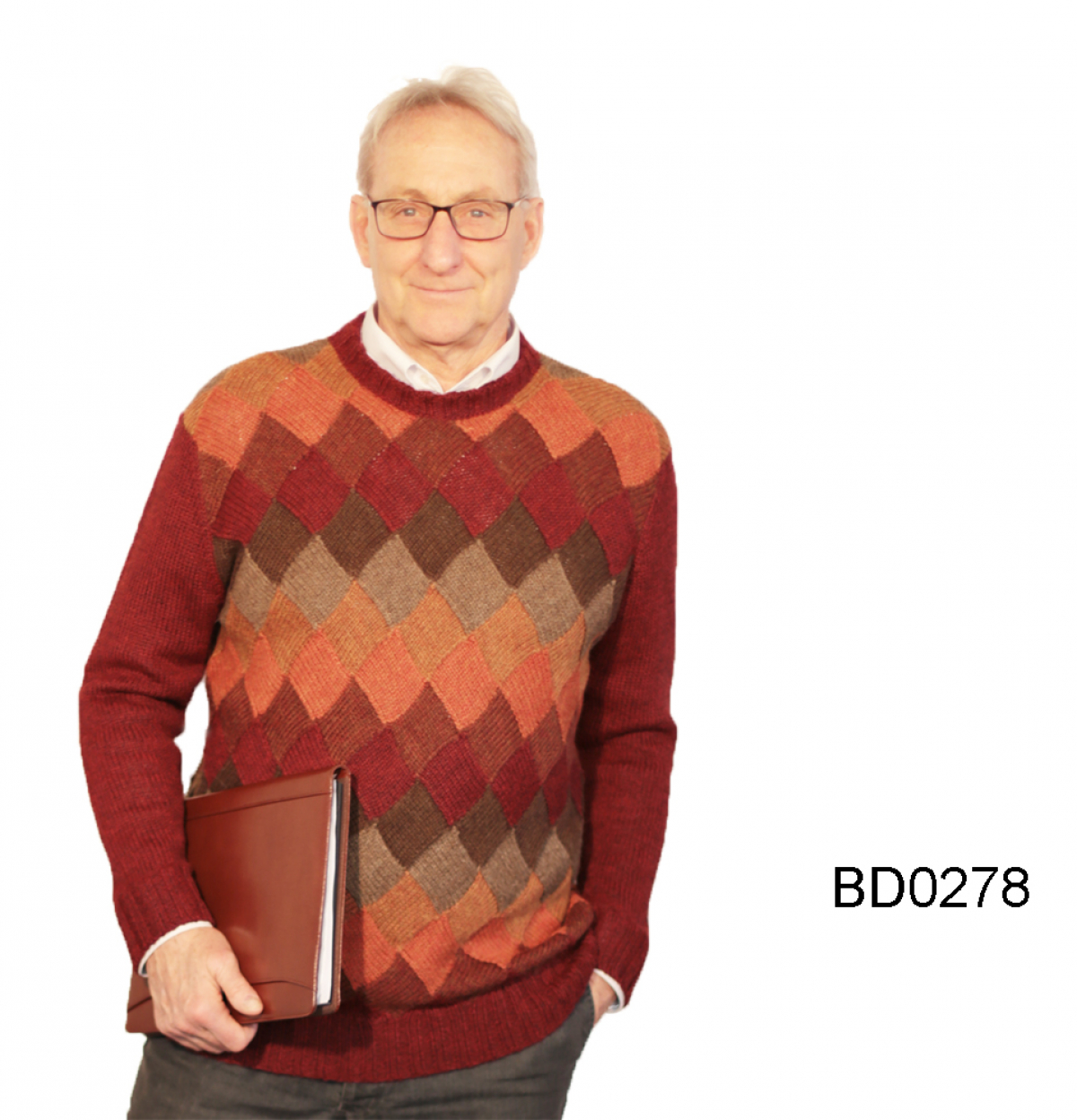 Men's Alpaca Crew-Neck Sweater Chess