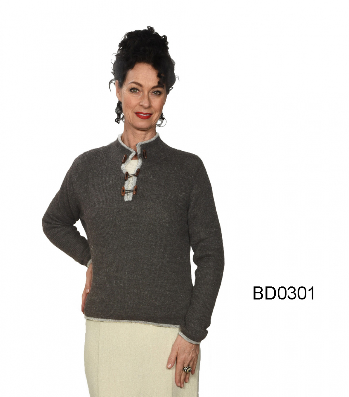 "Alpaca Sweater with Button-Neckline ""California"""
