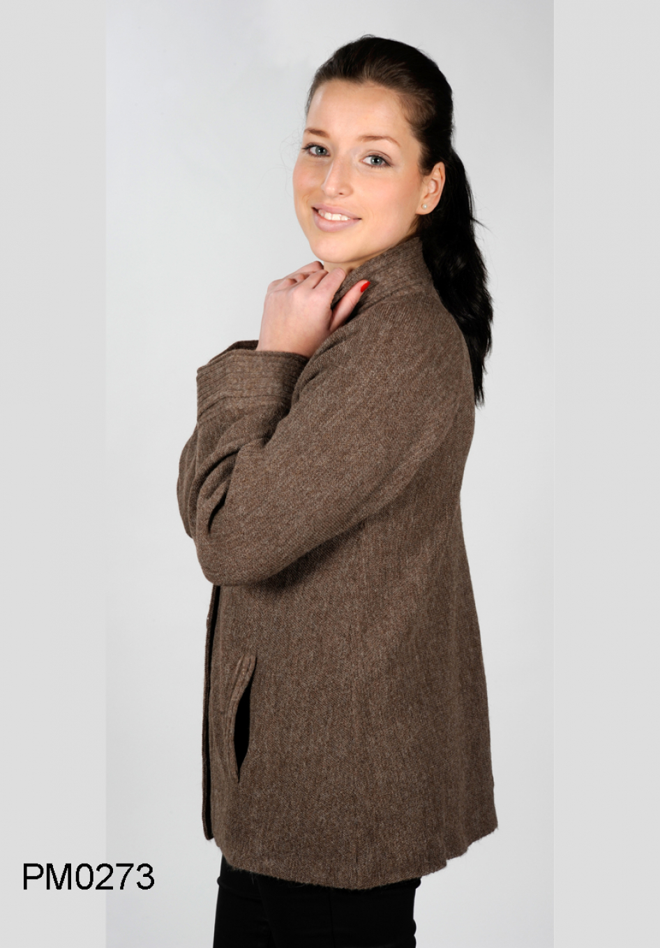 side view, Baby Alpaca Cardigan with Pockets and Raglan Sleeves, links-knit