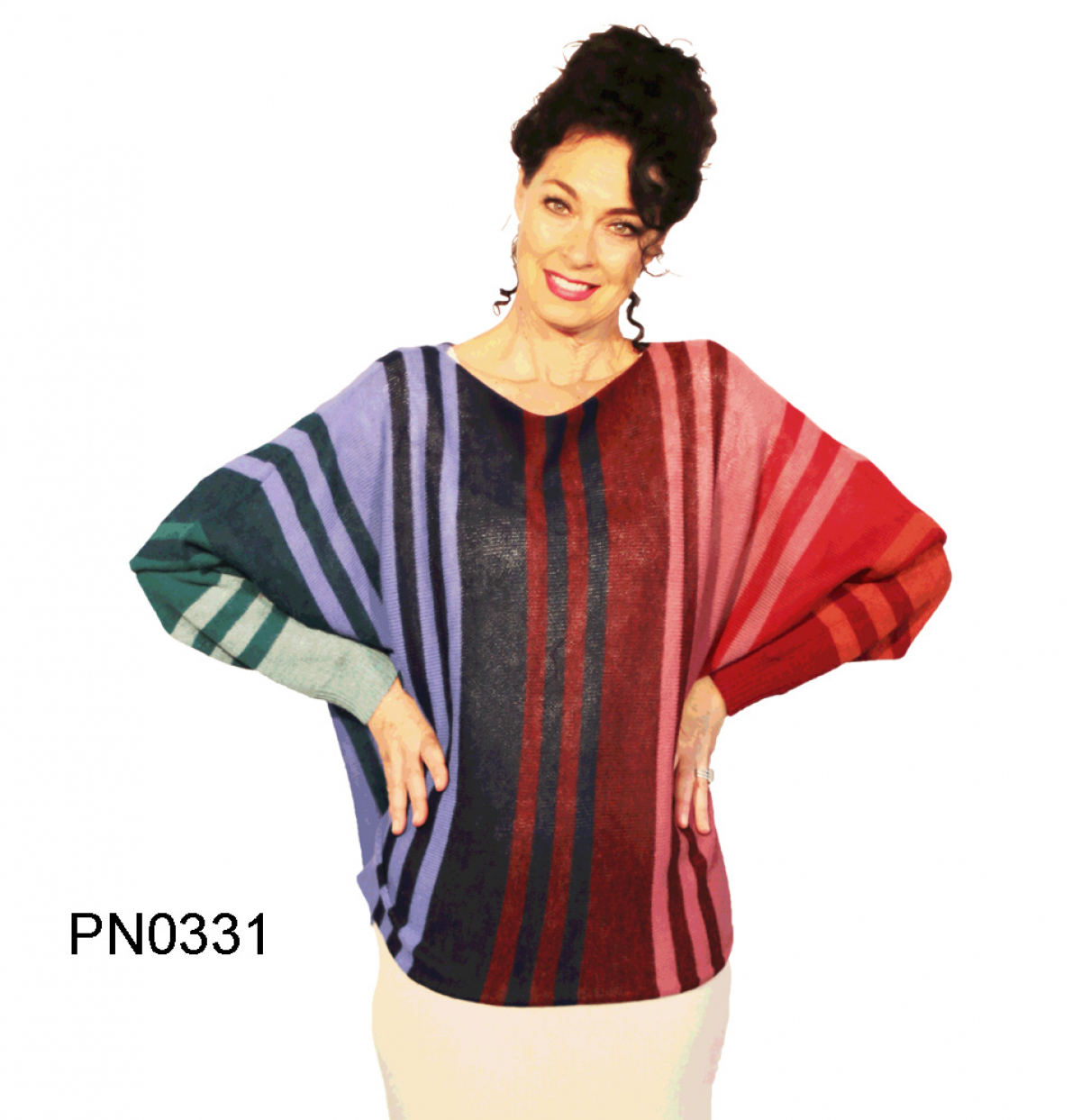 Womens Apaca Sweater in Butterfly-Form, rainbow colors, long sleeve