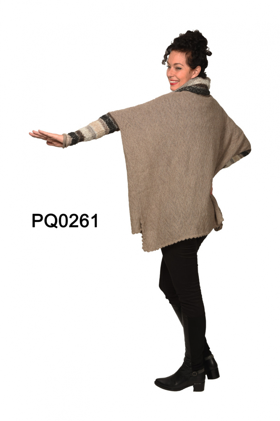 Womens Poncho-Sweater in Baby Alpaca with Bouclé