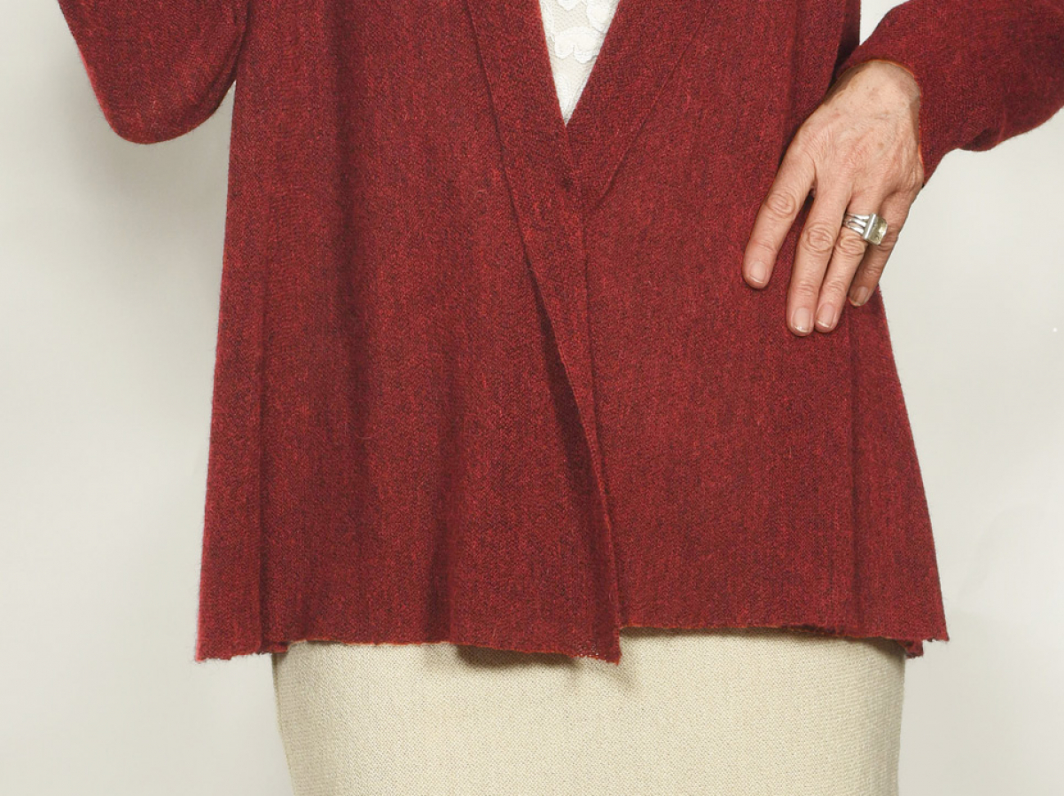 Detail, Godets, Offene Leichtjacke Cannes in Babyalpaka mit Strickgodets